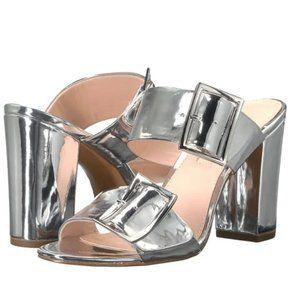 AVEC LES FILLES Silver Millie buckle strap sandals